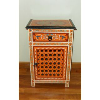Handpainted Orange Moroccan Arabesque Wooden End Table (Morocco