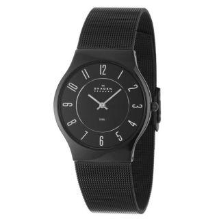 Skagen Mens Mesh Black Stainless Steel Quartz Watch