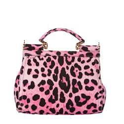 Dolce & Gabbana Miss Sicily Small Pink Leopard Canvas Satchel