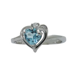 Jenne Silver Cubic Zirconia and Blue Topaz Heart Ring