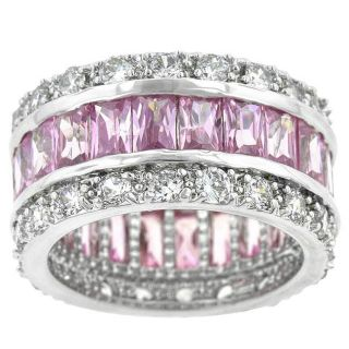 Kate Bissett Silvertone Pink and White Cubic Zirconia Ring