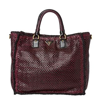 Prada Woven Burgundy/ Black Leather Madras Tote Bag