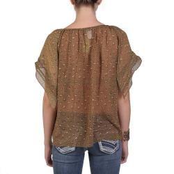 Tressa Designs Womens Contemporary Plus Flowy Sheer Scoop Neck Top