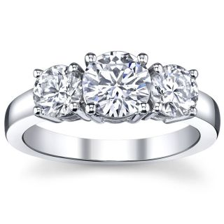 14k White gold 2ct TDW 3 stone Engagement Ring (I, VS2)