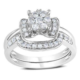 Miadora 14k White Gold 1/2ct TDW Diamond Bridal Ring Set (G H, I1 I2
