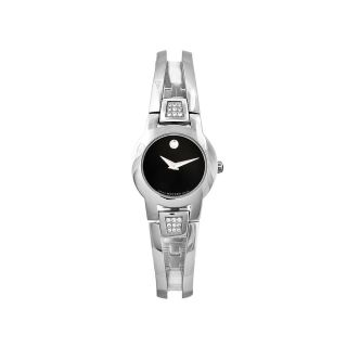Movado Womens Amorosa Stainless Steel Black Dial Watch