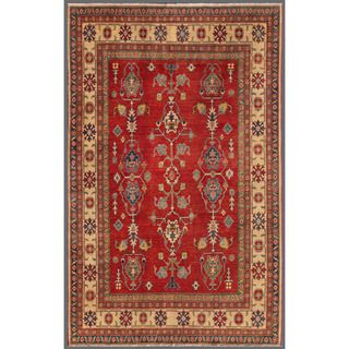 Afghan Hand knotted Kazak Red/ Ivory Wool Rug (63 x 911)