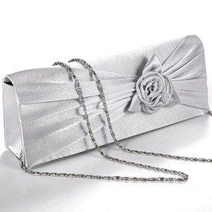 Luxus Satin Clutch Tasche Abendtasche Handtasche mit Rosa und Traeger