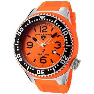 Swiss Legend Mens Neptune Orange Silicone Watch