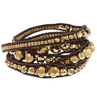 Goldplated Goldtone Crystal Wrap Bracelet