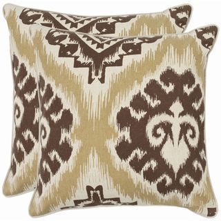 Damask 22 inch Beige/ Almond Brown Decorative Pillows (Set of 2