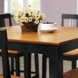 Black/ Natural 5 piece Wood Pub Table Set