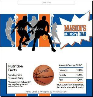 Blue Orange Basketball Team Candy Bar Wrappers: Sports