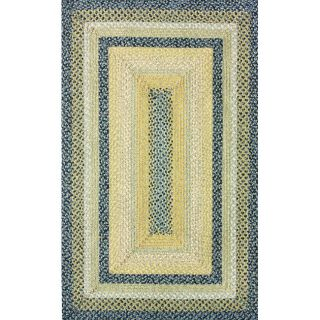 Handmade Alexa Cotton Fabric Braided Blue Cottage Rug (5 x 8