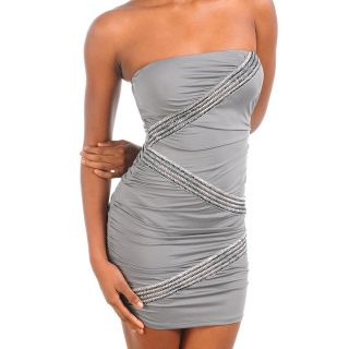 Stanzino Womens Grey Tube Dress with Silver Design