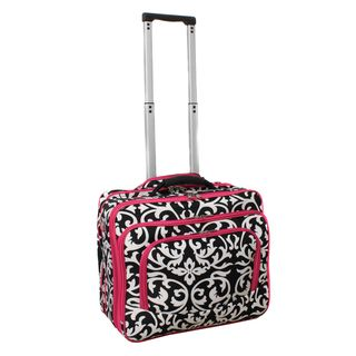 World Traveler Damask with Pink Rolling Laptop Friendly Business Case