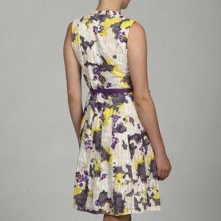 Born Purple Cotton Printed Tie Dress