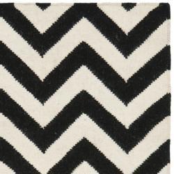 Chevron Dhurrie Black/ Ivory Wool Rug (3 x 5)