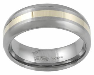 Tungsten and 14k Yellow Gold Comfort Band Ring