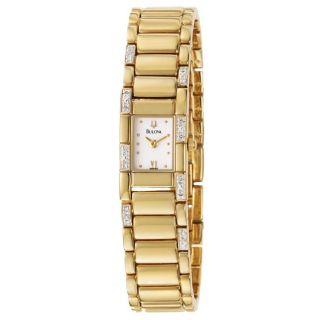 Bulova Womens Diamonds Goldplated Stainless Steel Quartz Watch