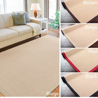 Woven Town Chocolate Sisal with Cotton Border Rug (4x6)