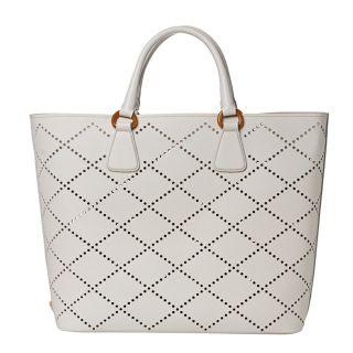 Prada Large White Perforated Saffiano Leather Tote
