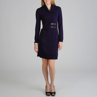 Lennie for Nina Leonard Womens Purple Knit Dress