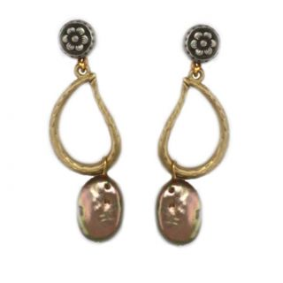 Antique Goldtone Bronze colored Shell Earrings