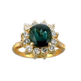 18k Gold Green Tourmaline and 1ct TDW Diamond Ring (G H, VS2 SI1