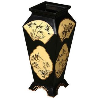 Antique style Black Lacquer Decorative Wood Vase (China)