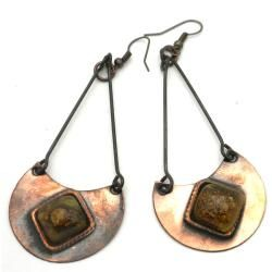 Copper Recycled Brown Glass Half Moon Earrings (Chile)