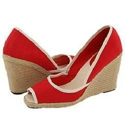 Nine West Topaza Red/ Natural Canvas