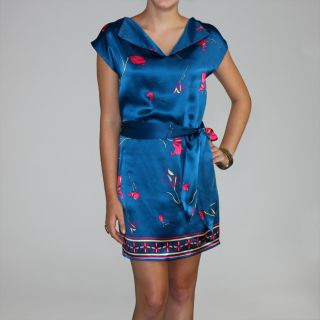 Bilingual Clothing Womens Blue Silk Floral Border Print Mini Shift