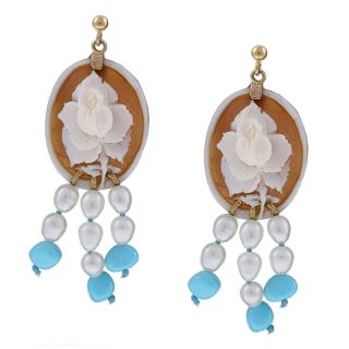 14k Gold Flower Shell Cameo Pearl and Turquoise Earrings (5 mm