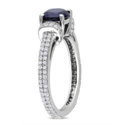 Miadora 10k Gold Created Sapphire and 1/2 CT TDW Diamond Ring (G H