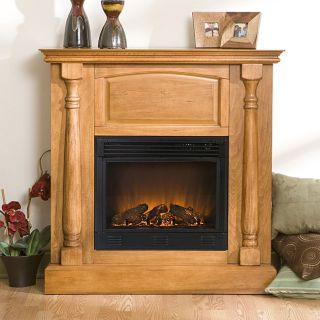 Grenoble Plantation Oak Electric Fireplace with Remote