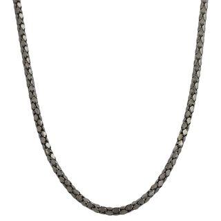 Black Rhodium Silver 18 inch Coreana Popcorn Chain Necklace