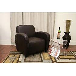 Parish Brown Bi cast Leather Contemporary Club Chair