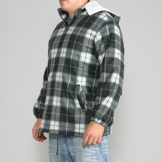 Maxxsel Mens Black/ White Plaid Fleece Jacket with Detachable Hood