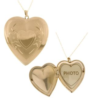 14k Yellow Gold Engraved Heart Locket Necklace