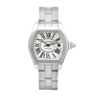 Cartier Mens Roadster Stainless Steel Silver Dial Watch