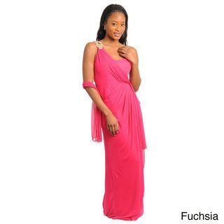 Stanzino Womens One shoulder Wrap Maxi Dress with Scarf