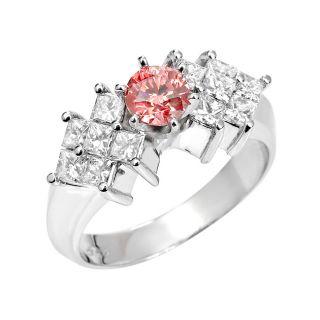 14k White Gold 1 1/3 ct TDW Pink Round and White Diamond Ring (I1, SI2