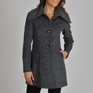 Ivanka Trump Womens Asymmetrical Herringbone Coat