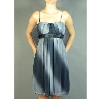 Jolie Womens Petite Black/Grey Gradient Pleated Sleeveless Dress