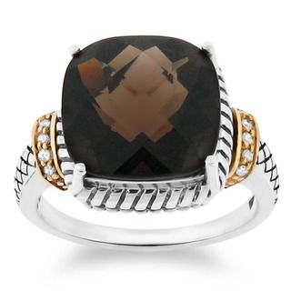 Meredith Leigh 14k Gold and Silver Smoky Quartz and Diamond Accent