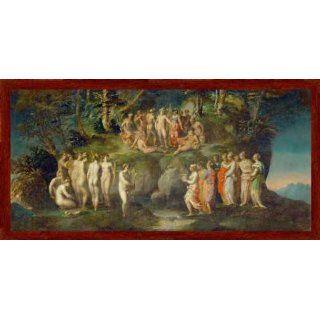 Bild mit Rahmen Rosso Fiorentino, Der Wettstreit der Pieriden, 71 x