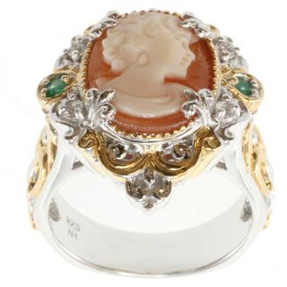 Michael Valitutti Two tone Cameo, Emerald and White Sapphire Ring