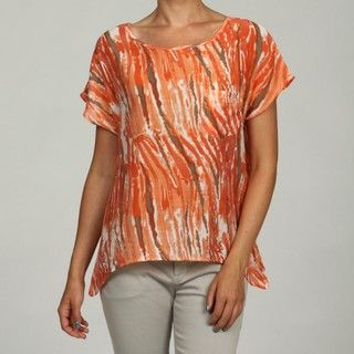 Ninety Womens Orange Multi Print Woven Basic T shirt