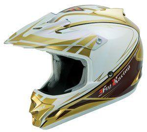 FLY Trophy, Motocross Helm für Einsteiger, weiss/gold, Gr.S